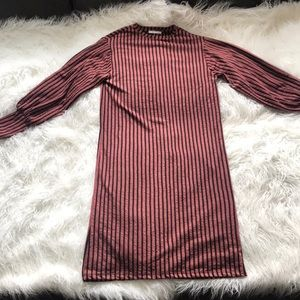 ZARA TRAFALUC PINK BLACK VERTICAL STRIPED DRESS